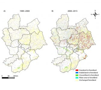 Spatial distribution of land cover types converted into forestland. Figure by Longhui Lu et al