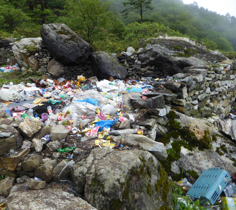 Solid waste management is one the most challenging issues for authorities in the Mt Everest region of Nepal, exacerbated by the rapid and continued growth of tourism. Photo by Alton Byers