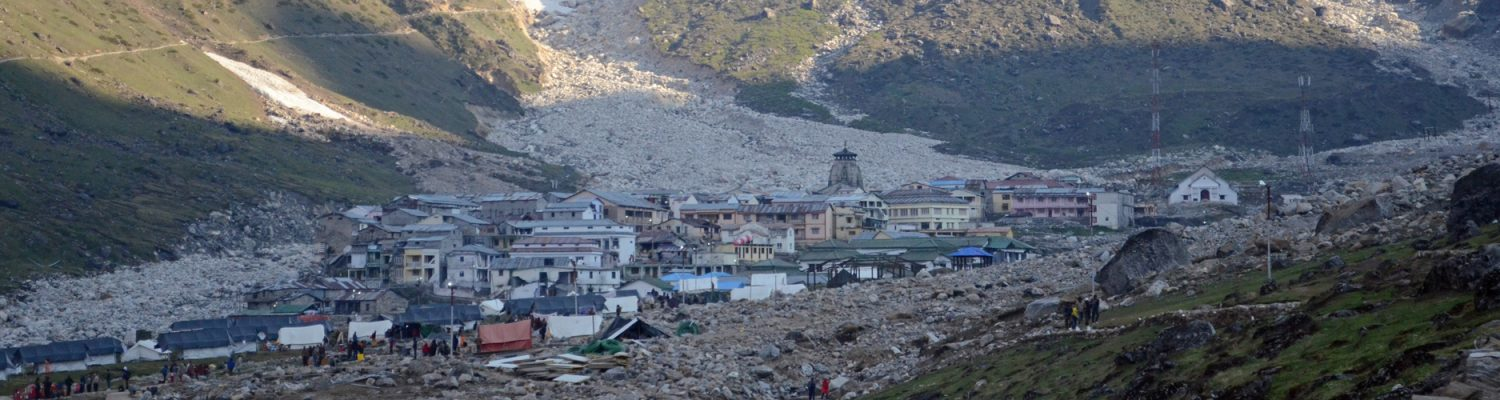 Kedarnath pilgrimage center and its environs in the upper Mandakini valley, Uttarakhand, India, after the 2013 hydrometeorological flood event. Photo by Daniel Grossman