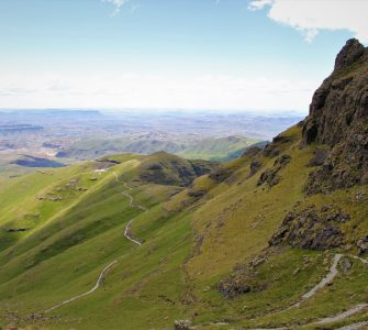 """View across Phuthaditjhaba from the """"Zigzags,"""" in the Witsieshoek component of the Maloti–Drakensberg. Photo by Leonie Bolleurs"""